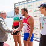 LM1x medalists with Mayor of Bled congratulating